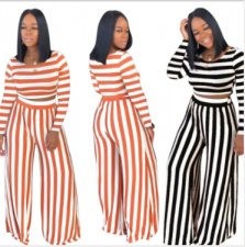 Casual Striped Long Sleeve Wide Leg Pants 2 Piece Sets MA-242