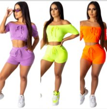 Solid Short Sleeve Crop Top And Shorts 2 Piece Set SFY-050