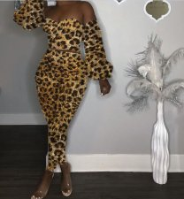 Sexy Strapless Leopard Printed Two Pieces Sets HZM-8007