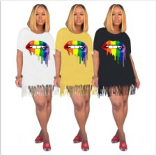 Lips Print Tassel Casual Loose Mini T Shirt Dresses YN-019