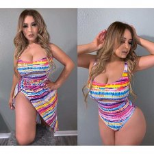 Colorful Printed Sexy 3pcs Swimsuit High Waist Bikinis Sets FST-7006