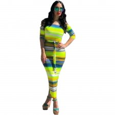Colored Stripes Three Quarter Sleeve Tie Up Slim Maxi Dress TK-6009