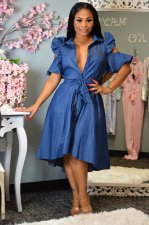 Plus Size Denim Ruffles Sleeves High Low Midi Dress QY-5129