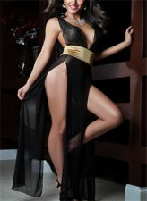 Black Backless Gauze Long Split Lingerie FQQ-0182