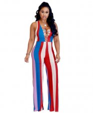 Colorful Stripe Wide Leg Jumpsuit YIS-602