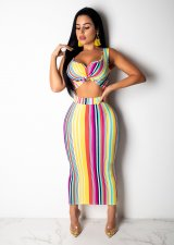 Colorful Striped Sleeveless Tank Bodycon Maxi Skirt Suit SHD-9134
