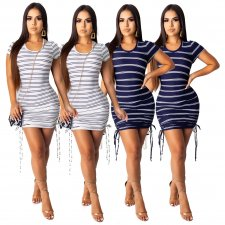 Sexy Striped Short Sleeve Lace Up Mini Dresses SHD-9163