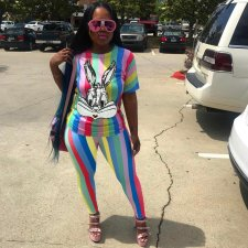 Colorful Striped Sequin Rabbit Print Two Piece Set LDS-3136