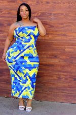 Plus Size 4XL Sexy Printed Strapless Long Tube Dresses OMF-002