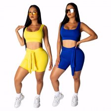 Solid Tank Tops And Shorts Sports Two Piece Short Set WY-6583