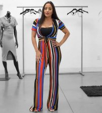 Striped V Neck Bow Crop Tops Pant Set LP-690