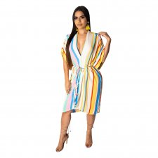 Colored Striped Deep V Neck Bat Sleeve Midi Dresses LUO-6181