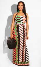 Geometric Print Spaghetti Strap Backless Side Split Long Dress OD-8261