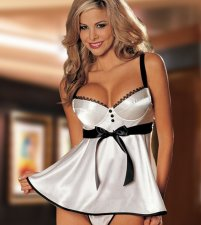 Plunging Neck Strap Toughing Satin Babydolls FQQ-0129