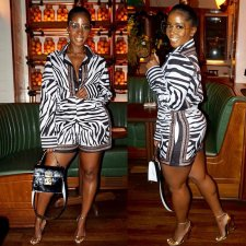 Zebra Striped Shirt Tops And Shorts 2 Piece Sets PN-6232