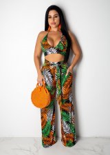 Leaves Print Halter Crop Top And Long Pants Set MN-3083