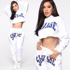 Letter Print Hooded Casual Sporty Two Piece Sets YSF-305