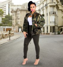 Camouflage Sequin Long Sleeve Loose Jacket ME-160