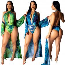 Printed 2 Piece Swimsuit Cover Up+ Bodysuit ME-211