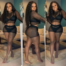 Balck Sexy Grid Hollow Out Long Sleeve 2 Piece Shorts Set LP-6160