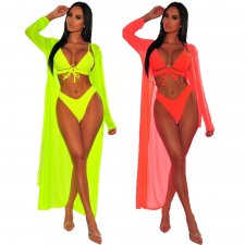 Sexy 3pcs Swimsuit Long Sleeve Cloak And Bikini Sets MDO-9052