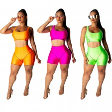 Solid Sports Causal Skinny Two Piece Shorts Set JH-103