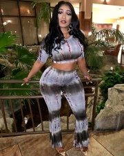 Tie Dye Print Short Sleeve Crop Top And Flare Pants Suit OYF-8058