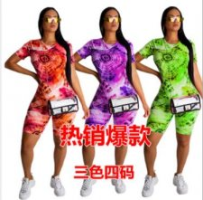 Tie Dye Print Short Sleeve Casual Two Piece Shorts Set AWN-5038