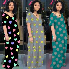 Polka Dot Print Short Sleeve Loose Maxi Dresses LQ-5084