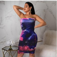 Sexy Strapless Bodycon Mini Print Dresses OM-1060