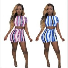 Colored Striped Crop Tops And Pants 2 Piece Outfits MYP-8874