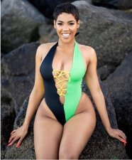 Color Block Halter Sexy Bodysuit Swimsuit BS-1030