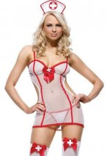 See-through Mesh White Nurse Lingerie FQQ-0685