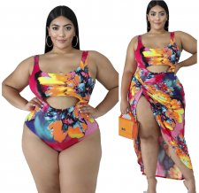 Plus Size 5XL Printed Swimsuit Beach Bodysuit With Long Skirt YIF-1053
