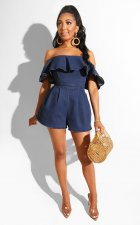 Sexy Denim Ruffles Off Shoulder Jeans Rompers MUM-5017