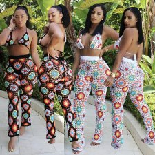 Sexy Printed Hater Bra Tops And Long Pants Sets AL-121