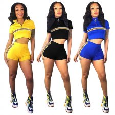 Casual Sports Striped Short Sleeve Two Piece Set MEM-8217