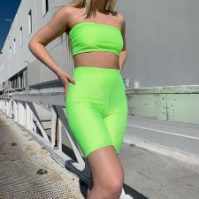 Solid Tube Top And Shorts Fitness Two Piece Set SUM-90093