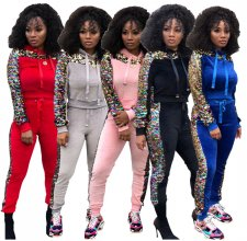 Sequin Patchwork Hoodies Tops And Pants Set NK-8307
