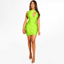 Sexy Hollow Out Sleeveless Mini Package Hip Dresses BER-1842