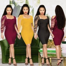 Sexy Tassel Sleeve Square Neck Bodycon Dresses AL-131