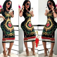Fashion Printed Short Sleeve Bodycon Midi Dresses MA-184