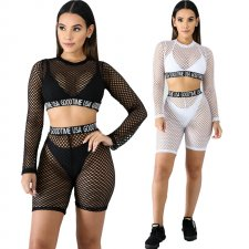 Sexy Mesh See Through Two Piece Shorts Set CYA-8146