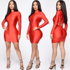 Sexy Long Sleeve Drawstring Fold Mini Bodycon Dresses YSF-302