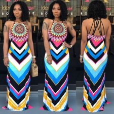 Geometric Print Straps Backless Slim Fit Maxi Dress OD-8263