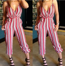 Stripe V Neck Straps Slim Jumpsuit  QY-5027