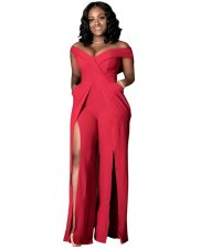 Red High Split Party Jumpsuit YIS-704