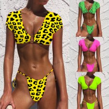 Sexy Printed Deep V Neck 2pcs Bikinis Set MJ-325