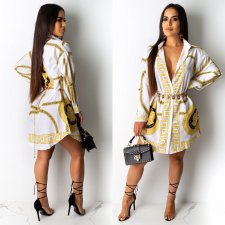 Vintage Print Turndown Collar Long Sleeve Shirt Dresses CY-1880