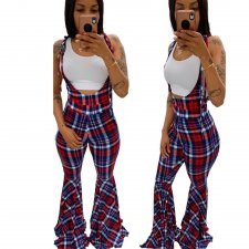 Plaid Print Strappy Sleeveless Flared Jumpsuits BN-9198